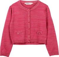 Beebay Solid Round Neck Casual Girls Orange Sweater