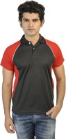 T10 Sports Solid Mens Polo Neck Black, Red T-Shirt