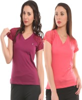 Ultra Fit Solid Women's V-neck Maroon, Pink T-Shirt(Pack of 2)