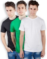 TOMO Solid Men's Round Neck Black, Green, White T-Shirt(Pack of 3)
