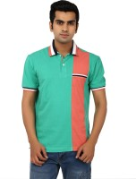 Ruse Solid Mens Polo Neck Green, Orange T-Shirt