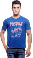 Nihaal Printed Men's Round Neck Blue T-Shirt