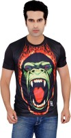 Tantra Graphic Print Men's Round Neck Black T-Shirt
