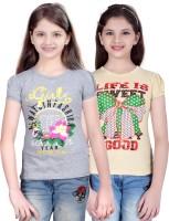 Sini Mini Girls Printed T Shirt(Silver)