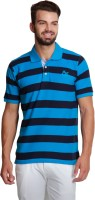 Design Roadies Striped Mens Polo Neck Black, Blue T-Shirt