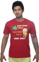 Clickroo Printed Men's Round Neck Red T-Shirt