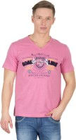 Wilkins & Tuscany Solid Men V-neck Pink T-Shirt