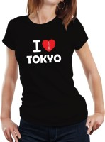 Fanideaz Printed Womens Round Neck Black T-Shirt