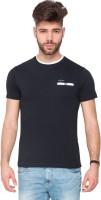Mufti Solid Men Round Neck Dark Blue T-Shirt