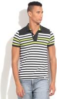 United Colors of Benetton Striped Mens Polo Neck White, Black, Green T-Shirt