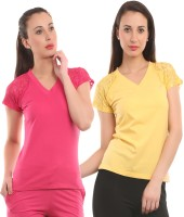 Ultra Fit Solid Women's V-neck Yellow, Pink T-Shirt(Pack of 2)
