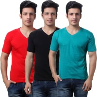 TeeMoods Solid Mens V-neck Black, Red, Green T-Shirt(Pack of 3)