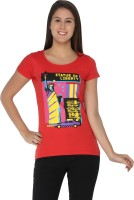 Imagica Printed Women's Round Neck Red T-Shirt