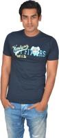 DoubleF Printed Men's Round Neck Blue T-Shirt