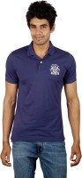 Red Line Solid Men Polo Neck Blue T-Shirt
