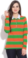Gant Striped Womens Polo Neck Green, Orange T-Shirt
