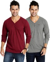 Rodid Solid Men's V-neck Maroon, Grey T-Shirt(Pack of 2)