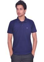 Leaf Solid Men's Polo Neck Blue T-Shirt