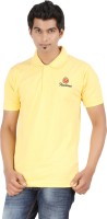 Fleximaa Solid Mens Polo Neck Yellow T-Shirt