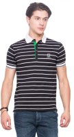 Mufti Striped Men Polo Neck Black T-Shirt