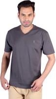Humbert Solid Mens V-neck Grey T-Shirt
