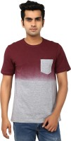 Ruse Solid Mens Round Neck Grey, Maroon T-Shirt