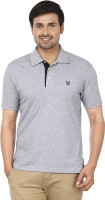 Ruse Solid Mens Polo Neck Grey T-Shirt