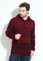 People Striped Mens Hooded Black, Maroon T-Shirt