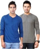 Top Notch Solid Mens Henley Blue, Grey T-Shirt(Pack of 2)