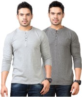 Top Notch Solid Mens Henley Grey T-Shirt(Pack of 2)