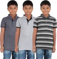 KNIT ABC Garments Boys Printed Cotton T Shirt(Grey, Pack of 3)
