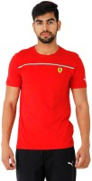 Puma Solid Mens Round Neck Red T-Shirt