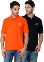 American Cult Solid Mens Polo Neck Orange, Dark Blue T-Shirt(Pack of 2)