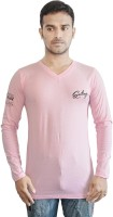 Al-Harsha Trend Solid Men's V-neck Pink T-Shirt