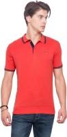 Mufti Solid Men Polo Neck Orange T-Shirt