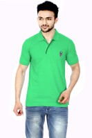 Gumality Solid Men's Polo Neck Green T-Shirt