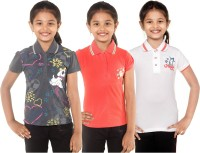 Menthol Girls Printed, Embroidered T Shirt(Multicolor)