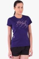 Puma Solid Womens Round Neck Blue T-Shirt