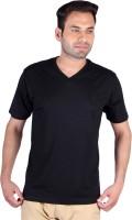 Humbert Solid Mens V-neck Black T-Shirt