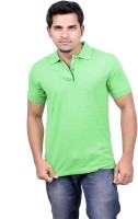 Gumality Solid Mens Polo Neck Green T-Shirt