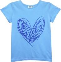Abstract Mood Girls Printed T Shirt(Light Blue)