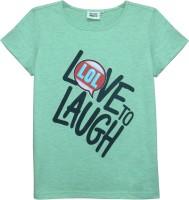 Abstract Mood Girls Printed T Shirt(Green)
