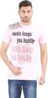 Al-Harsha Trend Printed Men's Round Neck Pink T-Shirt