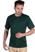 Humbert Solid Mens Round Neck Dark Green T-Shirt