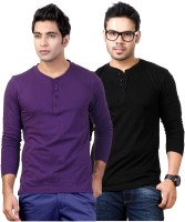 Top Notch Solid Mens Henley Purple, Black T-Shirt(Pack of 2)