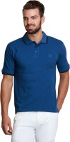 Design Roadies Solid Mens Polo Neck Blue T-Shirt
