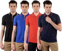 Gdivine Self Design Mens Polo Neck Black, Blue, Red, Dark Blue T-Shirt(Pack of 4)