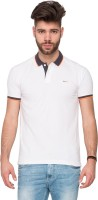 Mufti Solid Men's Polo Neck White T-Shirt