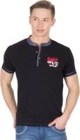 Wilkins & Tuscany Solid Men Henley Black T-Shirt