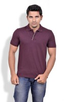 Gumality Solid Mens Polo Neck Maroon T-Shirt